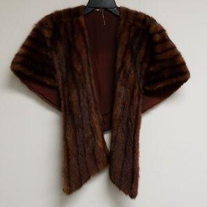 Vintage Brown Mink Fur Open Poncho